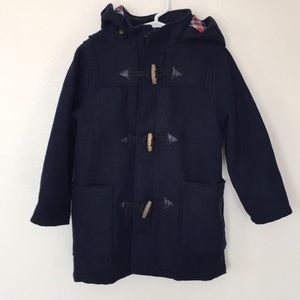 H&M Boys Navy Wool Duffle Coat w/Wooden Toggles